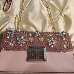 Aldo Pink Purse with Sequins/Pearls/Embellishments